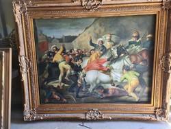 Törökök lázadása-sok alakos olaj festmény