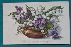 Virágcsokor, ibolya ,gyöngyvirág,használt,rajzos képeslap