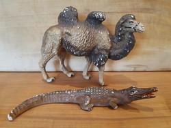 Régi játék teve és krokodil figurák -Lineol- kicsit sérült, fémvázra építve, háború előtti
