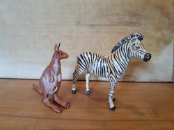 Régi játék zebra és kenguru figura -Lineol- sérülésekkel, fémvázra építve, háború előtti