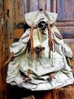 Vászon hátizsák, régi merevített hátú táska,bőr kiegészítőkkel, dekoráció