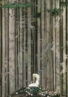Szecessziós mese illusztráció reprint nyomat 1914 Nielsen térdelő szőke lány erdő virágos domb fák