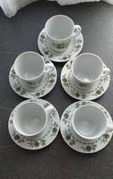Alföldi porcelán kávéscsészék, aljjal (5)