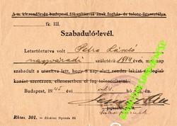 Szabaduló levél tábor parancsnok aláírással, Déli internáló tábor 1945 kultúrdélután műsora