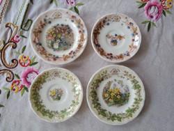 4 db mini Royal Doulton porcelán tányérka/mese tányér/babaporcelán Brambly Hedge - Szederberek meséi