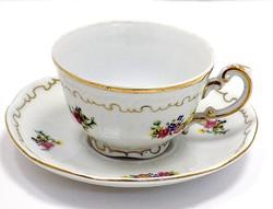 Zsolnay virágos mokkás csésze+alj (ZAL-R68425)