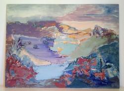 Festmény, Jándi Zsuzsa, Nyéki tó.