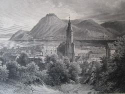DUNAKANYAR NAGYMAROS LÁTKÉP JELZETT ROHBOCK METSZET KÉP CCA. 1850