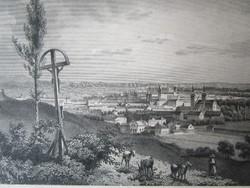 NAGYVÁRAD LÁTKÉP JELZETT ROHBOCK METSZET KÉP CCA. 1850