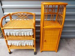 Eladó 1 db RATTAN egy ajtós kis bútor .  2 FIOKOS GURULOS ELKELT.  Bútorok szép állapotú .