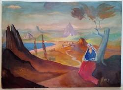 Festmény, Molnár C. Pál, Madonna.