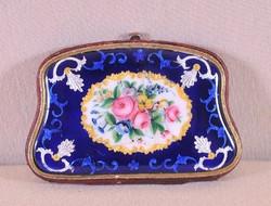 Antik finoman festett zománc női pénztárca, porte-monnaie
