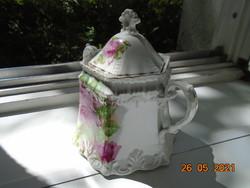 19.sz Szecessziós, dombormintás, rózsás teás cukortartó