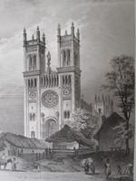 FÓT SZENTEGYHÁZ TEMPLOM LÁTKÉP JELZETT ROHBOCK METSZET KÉP CCA. 1850