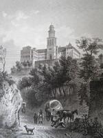 PANNONHALMA FŐAPÁTSÁG ÉPÜLETE JELZETT METSZET KÉP CCA. 1850