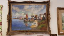 Hajó kikötő , Pietro Montanari Olasz festmény 1938-ból