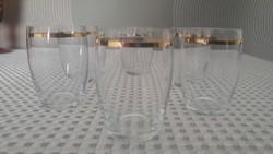 Régi aranyozott  üveg pálinkás pohár készlet