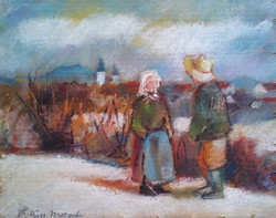 Festmény, Thormáné Kiss Margit, Beszélgetők