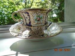 1842  Extrém ritka KRIEGEL&CO PRAG muzeális kobalt arany dombormintás,virágmintás teás csésze tállal