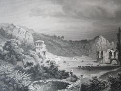 A TEGYE LÁTKÉP PÉCS MELLET LÁTKÉP JELZETT ROHBOCK METSZET KÉP CCA. 1850