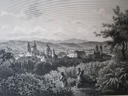 EGER DÉL DÉLRŐL LÁTKÉP JELZETT ROHBOCK METSZET KÉP CCA. 1850
