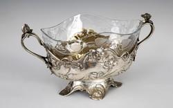 Ezüst szecessziós kínáló / asztalközép