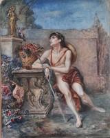 Ismeretlen művész Adonis a Vénusz szobrával, 19. század