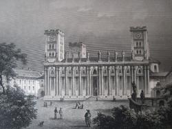 PÉCS SZENTEGYHÁZ TEMPLOM LÁTKÉP JELZETT ROHBOCK METSZET KÉP CCA. 1850
