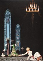 Szecessziós mese illusztráció reprint nyomat 1914 Nielsen királyfi templom belső íves ablak csillár