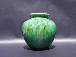 Ritka antik Zsolnay mázas kerámia öblös váza különleges zöld árnyalatokkal eozinos mázzal