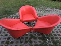 3 db Retro piros műbőr fotel