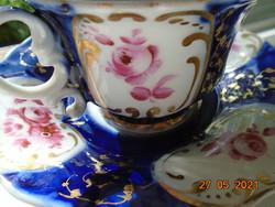 19.sz kobalt arany kézzel festett rózsa mintákkal teás készlet