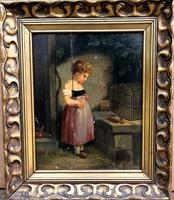 150-170 éves antik gyönyörűség! Ismeretlen festő – Kislány kalitkával című festménye – 190.