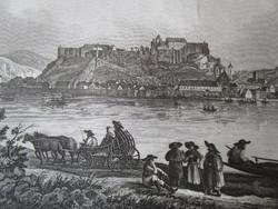 ESZTERGOM - GRAN LÁTKÉP JELZETT METSZET KÉP CCA. 1850