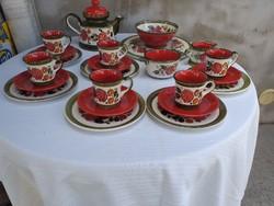 SMF Schramberg kézzel festett 6 személyes teás,kávés készlet