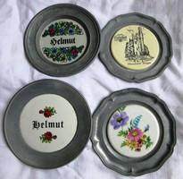 5 db Óntányér porcelán betéttel,átmérő 11, 11,2, 10 cm.