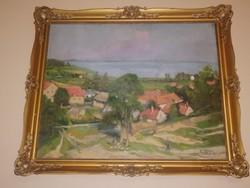 István Arató: Balaton life picture badacsony large-scale beautiful painting