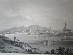 VÁC DUNA FELŐL LÁTKÉP JELZETT METSZET KÉP CCA. 1850