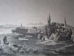 VÁC LÁTKÉP JELZETT ROHBOCK METSZET KÉP CCA. 1850