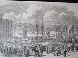 BUDAPEST PESTH MAGYAR ÁLLAMI KAMARA TANÁCSKOZÁSA PETROVICS JELZETT METSZET KÉP CCA. 1850 -TŐL