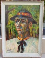 Ujváry Lajos(1925-2006): Kalapos férfi, Trencen 1960