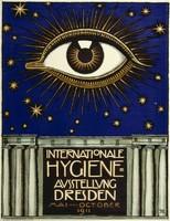 Német szecessziós kiállítás plakát reprint nyomat Franz von Stück szem éjszaka égbolt csillag oszlop