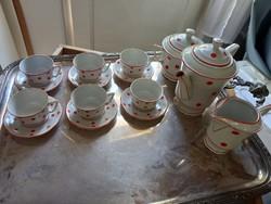 Zsolnay Art deco kávés készlet, pöttyös Zsolnay porcelán készlet/ manófüles nosztalgia kávés készlet