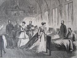 BUDAPEST PESTH ERZSÉBET KIRÁLYNÉ KORHÁZ LÁTOGATÁS JELZETT METSZET KÉP CCA. 1850 -TŐL