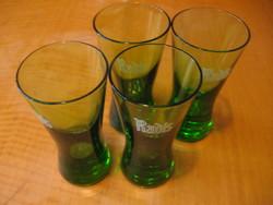4 db retro zöld Radis olasz keserű győgynövényes likőr pohár
