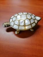 Réz teknős, gyöngyház berakással,ékszertartó