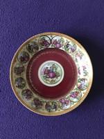 Gyönyörű jelenetes dúsan aranyozott porcelán kínáló