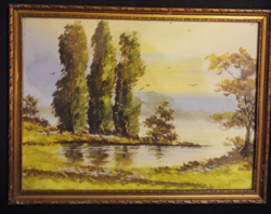 Üvegezett fa képkeret, festménnyel