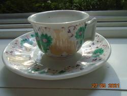 1864 TK Thun kézzel festett Biedermeier kávés csésze tömör fogóval teás alátéttel