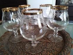 Francia kristály poharak egyedi csiszolással, aranyozott széllel!